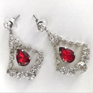 Costume Red and Silver Diamond Drop Post Earrings